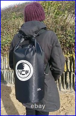 30L roll top dry bag 100% waterproof lightweight TOUGH RIPSTOP nylon (in black)