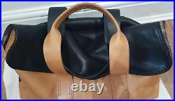 3.1 PHILLIP LIM 2 Tone Black Tan Leather HOUR BAG Double Top Handle Rolled Bag