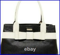 $458 Nwt Kate Spade Leather Alice Court Diehl Dual Rolled Top Tote Black/bone