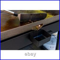 4 Burner Propane Gas Grill Black Griddle Top Easy Roll Transport High Heat