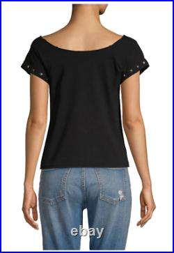 Alice + Olivia Rolling Stones studded black t-shirt top, size XS/S, retail $195