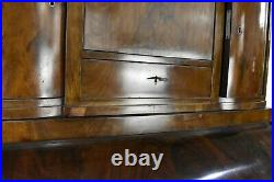 Antique continental roll top writing desk / cylinder bureau with drawers