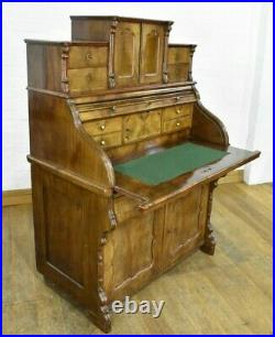 Antique continental writing desk / roll top bureau with drawers
