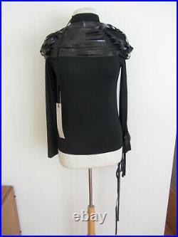Boudicci Nwt Sz10 Black Gothic Leather Straps Roll Neck L/sleeve Stretch Top
