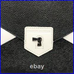 Charles Jourdan Jamie Removable Clutch Satchel Pebbled Leather Roll Top Handle
