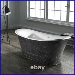 Harol Designer Acrylic Roll Top Freestanding Bath Black Gravel Inc Bath Waste