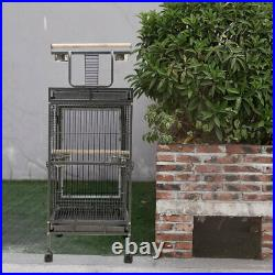 Large Metal Rolling Bird Cage for Parrot Canary Cockatiel Parakeet with Play Top