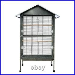 Large Metal Roof Top Rolling Bird Cage Canary Parrot Cockatiel 2 Perches House