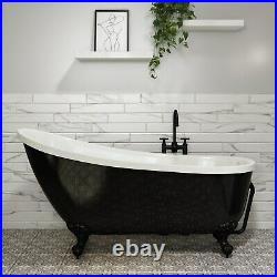 Lunar Freestanding Single Ended Roll Top Slipper Bath Black BUN/BeBa 25415/76768
