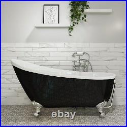 Lunar Freestanding Single Ended Roll Top Slipper Bath Black BUN/BeBa 25415/76769