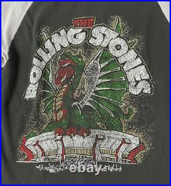 Madeworn Rolling Stones Glitter Dragon Raglan Tee Shirt Top Size Small