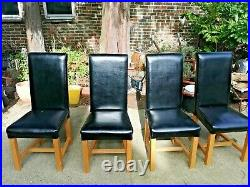 Modern roll top Faux Leather Dining Chairs roll High Back Seat Oak Legs x4