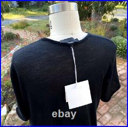 Nwt THE ROW Cashmere Top Sz S black short roll sleeves