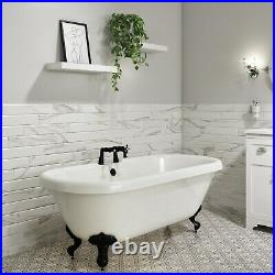 Park Royal Freestanding Double Ended Roll Top Bath White with Black Feet 1515