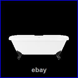 Park Royal Freestanding Double Ended Roll Top Bath White with Black Feet 1695