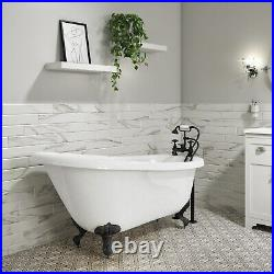 Park Royal Freestanding Singe Ended Roll Top Bath White with Black Feet 1690 x
