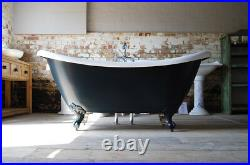 Pegasus Double Slipper Roll Top Bath Painted In Farrow And Ball Black Blue