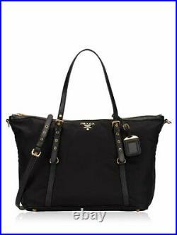 Prada Tessuto Nylon Saffiano Leather Black Top Zip Tote Bag 1BG253