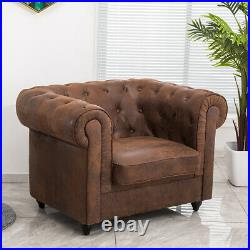 Retro Lounge Chair Chesterfield Single Sofa Roll Top Armchair For Bedroom Office