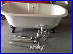 Roll Top Bath-free Standing-white-black Claw Feet-inc. Taps/shower+fittings-vgc