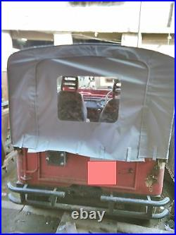 Rolled Back Stitched Soft Top For Jeep Willys Cj3b 1953-71, Canvas Coated Fabric
