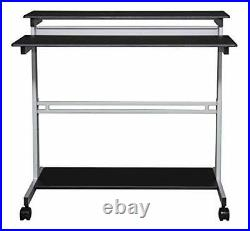 Stand Up Desk Store Rolling Adjustable Height 48 Inches Silver Frame/Black Top