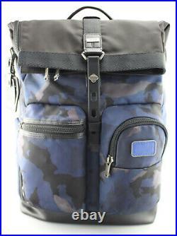 TUMI'Alpha Bravo London' Black / Blue Camo Nylon Roll Top Backpack 232388BCM2
