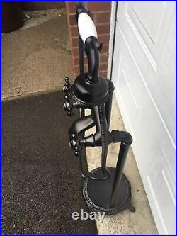 Tall Freestanding Black Brass Shower Mixer Taps Ideal Roll Top Bath Rare T96