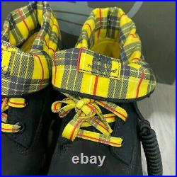 Timberland Rolltop Boot Men's Size 8.5 Shoes Black Yellow Plaid TB0A28RH New