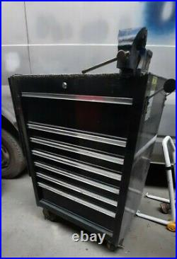 Tool Chest Roll Cab With Bench Top And Vice Black 7 Drawers