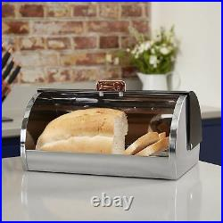 Tower Linear Stainless Steel Roll Top Bread Bin Black & Rose Gold T826000RB