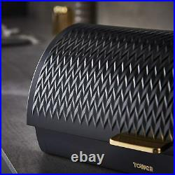 Tower T826090BLK Empire Roll Top Bread Bin -Brand New 3 Years Guarantee