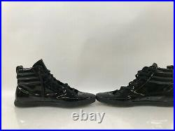 YSL Saint Laurent Black Leather Rolling High-top Sneakers LK172854 48 Size 15