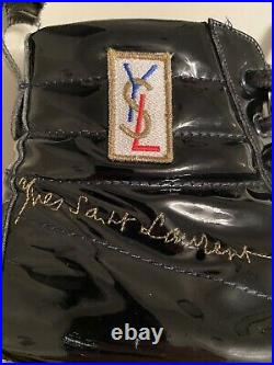 YSL Yves Saint Laurent Rolling High Top Sneakers Mens 40.5 Glossy Black Leather